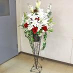 カサブランカ 造花 カサブランカとローズの豪華なスタンド付きアレンジ CT触媒