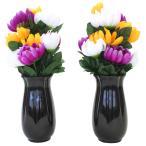 セットでお買い得 CT触媒 三色の菊9輪の小さめな花束一対花器付セット シルクフラワー 造花 お彼岸 お盆 お仏壇 仏花