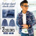 ショッピングネルシャツ チェックシャツ メンズCavariA インディゴ染めチェック柄長袖シャツ/全2色ネルシャツ チェック柄 インディゴ 長袖シャツ 春 夏 M L カジュアルシャツ