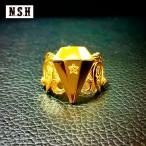"""N.S.H【エヌ.エス.エイチ】3rd RING 24K GOLD coating/全1色""【リング メンズ ジュエリー ゴールド シルバー ダイヤモンド 24K】"