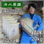 お米 20kg  白米 精白米 コシヒカリ 28年産 うるち米 5kg×4個セット 石川県白山市
