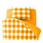 ショッピングカバー 布団カバーセット シングル 柄:チェック カラー:オレンジ 32色柄から選べるスーパーマイクロフリースカバーシリーズ〔和式用〕3点セット