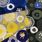 【メール便2mまで】北欧風まるいお花柄綿麻キャンバス生地(1593) | 北欧,う早子の布,インクブルー,かわいい,フラワー,コットンリネン,おしゃれ