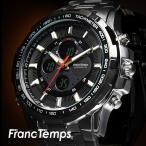 腕時計 メンズ ブランド タキメーター ビックフェイス ステンレス フランテンプス GRANDE グランデ 大きい FRANCTEMPS