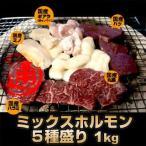 国産牛 ホルモン 焼肉セット 5種盛り 1kg 送料無料 丸腸 / ハラミ / 赤センマイ (ギアラ) / ミノ / ハツ  各200g  国産 焼肉 焼肉セット