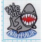 送料63円/オーストラリアシャーク/サメ/アイロンワッペン/刺繍/アップリケ/魚/水族館