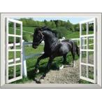 ウォールステッカー オーダーメイド ( 窓 ウィンドーシリーズ防水( 横長 )馬) 高80cm x 120cm シール はがせる 壁紙