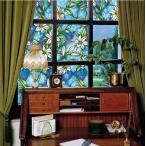 ガラスフィルム ( のり不要 ) 《ブルーフラワー》 ステンドグラス風 1メートル幅2種類 窓飾りシート ウィンドウフィルムシール シール 目隠し はがせる 壁シール
