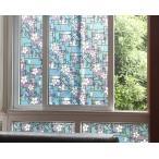 ガラスフィルム 窓 目隠しシート UVカット 遮光 ( のり不要 ) ws-2003 フラワースクエア ステンドグラス 窓飾りシート