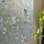 ガラスフィルム ( のり不要 ) ws-2018 クリスタルフラワー ステンドグラス風 1m 窓飾りシート ウィンドウフィルムシール シール 目隠し はがせる 壁シール 紫外