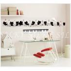 ウォールステッカー キティーピアノアンサンブル   silkyroom 猫 音符 音楽教室 鍵盤 楽譜 シール 北欧 はがせる
