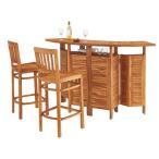 代引不可 3点セット カウンターテーブル&チェア2脚 折りたたみ テーブル チェア  天然木 木製 ガーデニング バルコニー 庭  アウトドア おしゃれ 完成品