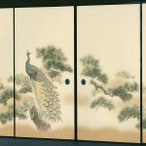 高級織物襖紙 伝統手加工襖絵 No.157 4枚組 (襖/ふすま/ふすま紙/孔雀クジャク/張替)
