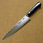 関の刃物 ペティナイフ 15cm (150mm) 伊勢谷治平 V金10号 33層 ダマスカス鋼 黒パッカー 果物包丁 野菜 果物皮むき 小型両刃ナイフ 日本製