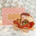 3D 立体 クリスマス  カード 【馬車に乗ったサンタさん達】 POP UP Xmas ギフト カード クリスマスグリーティングカード 封筒付き ポップアップ
