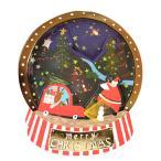3D 立体 クリスマス  カード 【プレゼントを運ぶサンタさん】 ゆらゆら動く POP UP Xmas ギフト カード クリスマスグリーティングカード 封筒付き ポップアップ