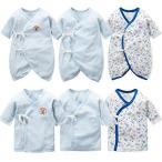 新生児肌着 6枚組 赤ちゃん コンビ肌着 短肌着 綿100% ベビー服 長袖ロンパース カバーオール ロンパース 前開きタイプ 肌着パジャマ