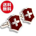 袖扣 - カフスボタン カフリンクス 盾 クロス シールド レッド(赤) メンズジュエリー・アクセサリー カフス