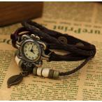古董手表 - 【メール便 送料無料】アンティーク 風 エスニック多重レザー ベルトブレス腕時計 フリーサイズ ブラウン