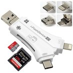 4in1 SD カードリーダー iPhone & Lightning/USB TYPE-C/USB 3.0 & USB-A/Micro-USB 内蔵 メモリー スティック カードリーダー OTG機能 高速データ転送