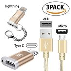 [3個セット]iphone7/8 ケーブル type c Lightning 変換アダプタ  Lightning to Micro USB Adapter 8pin iPhoneなど対応充電 高速データ転送