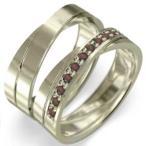 ガーネット レディス メンズ リング 平打ちの 指輪 10kイエローゴールド 1月誕生石