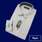 【長袖】Paris形態安定ワイシャツ ストライプ ショートボタンダウン