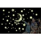 ウォールステッカー:夜に光る月と星 蓄光タイプ 簡単模様替え ゆうメール送料無料 Y0015