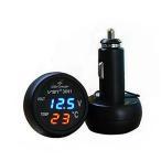 3in1デジタル電圧計+温度計 USB充電ポート付 ボルテージメーター 12V車、SUV/24V トラック/バス対応 VST31