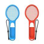 Nintendo Switch Joy-Con専用 ラケット型アタッチメント ブルー&レッドセット 軽量ABS テニスゲーム臨場感 ストラップ付 マリオテニスエース適用 DOBETNS843