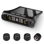 タイヤ空気圧監視システム モニタリング タイヤセンサー 無線測定 ソーラー充電/USB充電 気圧/温度計測監視 振動感知 外部センサー 1.5-6BAR 取付簡単 STST02
