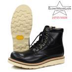 SLOW WEAR LION オイルドレザー プレーン MID ブーツ BLACK メンズ グッドイヤー製法 ビブラム#4014 /日本製 国産