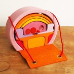 積み木 ドールハウス おもちゃ ままごと 人形 家具 かわいい おしゃれ 女の子 誕生日 シュタイナー ドイツ GRIMM'S グリムス 家具付き積み木おもちゃ ピンク