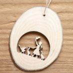 ドイツ Finkbeiner フィンクバイナー 木製輪切りオーナメント-少女とガチョウ