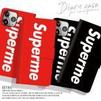 手帳型スマートフォンケース iPhone Superme 大人気 パロディ BOXロゴ モード おしゃれ トレンド ボックスロゴ シュプリーム Supreme好き必見