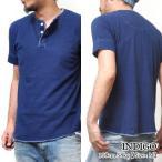 Tシャツ 丈夫 厚手 半袖 ティーシャツ  本藍染 インディゴ ヘンリーネック アメカジ ヒノヤ スマートスパイス 本藍染ヘンリーネックTシャツ