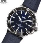 ORIS オリス 腕時計 733 7730 4135R アクイス デイト ネイビー 自動巻き ラバー...