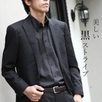 2枚衿ボタンダウン ワイシャツ 襟高デザイン 長袖 ワイシャツ 黒 ブラック ストライプ メンズ 紳士用