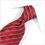 ネクタイ レギュラー メンズ 紳士用 洗える ウォッシャブル 洗濯可 デザイン 赤 レッド 幾何学 ストライプ