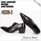 ビジネスシューズ ビジネス メンズ 本革 カジュアルシューズ ハイヒール ウィングチップ  紳士  HD09-3BK