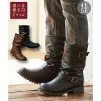 エンジニアミドルブーツ(低反発中敷)ワイズ4e-5e(選べる履き口) 靴(シューズ) 30代 40代 50代 女性 23.0cm-26.5cm 幅広ブーツ ブーティー ブラウン