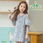 半袖ワンピース 韓国子供服 肩だし 夏 刺繍 星 ハート ストライプ 子供服 キッズ 女の子