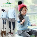 ショッピング子供服 子供服 長袖トップス 女の子 韓国子供服 カットソー 長袖 キッズ トレーナー 切り替え フリル チェック柄