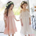 子供服 ワンピース 夏 オフショルダー ピンク ホワイト 白 女の子 フレアワンピース 韓国子供服