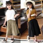 子供服 セットアップ 女の子 夏 半袖 韓国子供服 キッズ 可愛い Tシャツ ワイドパンツ