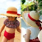 帽子 女の子 キッズ 麦わら 赤リボン ハット 夏 日焼け対策 熱中症対策 紫外線予防