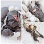 長袖ロンパース ベビー服 新生児 赤ちゃん 秋 冬 ウサギ 耳付き フード付き カバーオール 可愛い 女の子 男の子 80 70