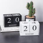 万年カレンダー 木製 カレンダー ウッドカレンダー 卓上カレンダー 日替わり 再利用可能 日めくりカレンダー おしゃれ インテリア 2色選び