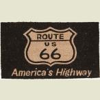 ココナツ玄関マット コイヤーマット COIR MAT ルート66ブラック Americas Highway Route66