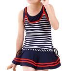 ショッピング女の子 女の子セパレートタイプの水着ボーダー柄/ネイビー 130
